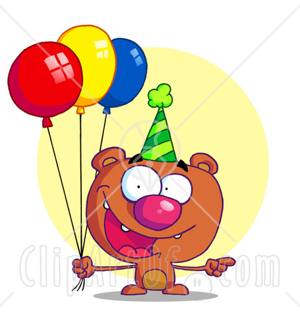 Birthday Balloons Clip Art. Birthday balloons and party hats graphic
